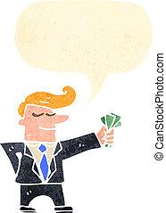 漫画, ひと握り, 現金, 人, スーツ