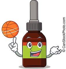 漫画, びん, バスケットボール, デザイン, マスコット, 運動, 液体