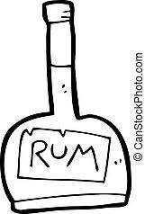 漫画, びん, ラム酒