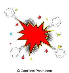 漫画, アイコン, スタイル, 爆発
