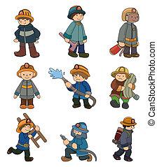 漫画, アイコン, セット, 消防士