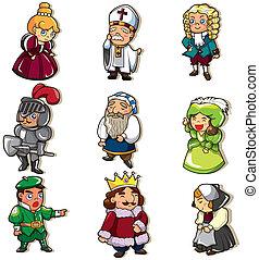 漫画, アイコン, 人々, 中世