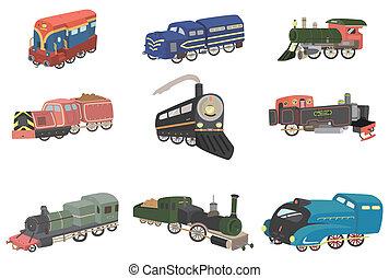 漫画, アイコン, 列車