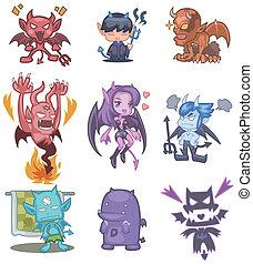 漫画, アイコン, 悪魔