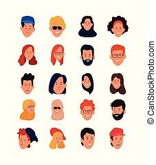 漫画, アイコン, 表面人々, セット, 幸せ