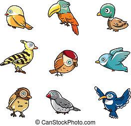 漫画, アイコン, 鳥