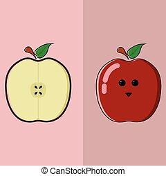 漫画, アップル, イラスト, かわいい