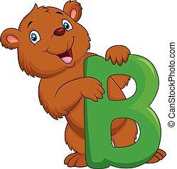 漫画, アルファベット, b, 熊
