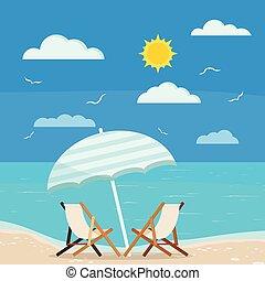 漫画, イラスト, スタイル, バックグラウンド。, 夏, デザイン, ベクトル, viewf, 休日, 海景, 海, ...