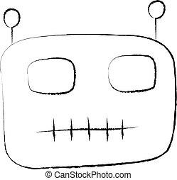 漫画, イラスト, 特徴, ベクトル, 顔, ロボット, 隔離された