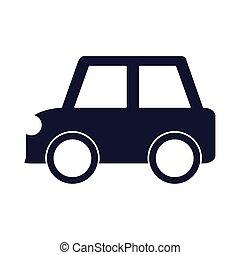漫画, オブジェクト, シルエット, 小さい, 車, おもちゃ, プレーしなさい, アイコン, 自動車, スタイル, 赤, 子供