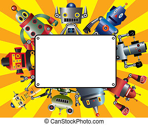 漫画, カード, ロボット