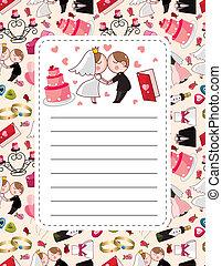 漫画, カード, 結婚式
