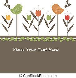漫画, カード, 鳥