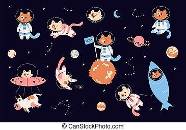 漫画, キティ, 子ネコ, rocket., 面白い, 探検, ゼロ, セット, 宇宙飛行士, spacesuits, 銀河, スペース, 動物, 宇宙船, ベクトル, cats., gravity., 宇宙飛行士, 幼稚, 飛行, ∥あるいは∥, helmets.