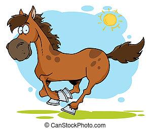 漫画, ギャロップする, 馬