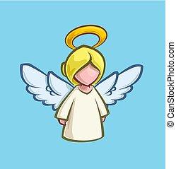 漫画, -, クリスマス, 天使, アイコン