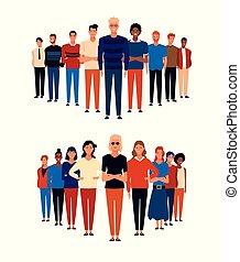漫画, グループ, 人々