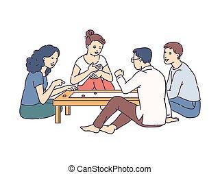 漫画, ゲーム, 遊び, 人々, テーブル, isolated., スケッチ, イラスト, 板, ベクトル