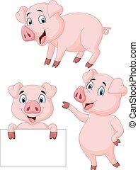漫画, コレクション, 豚