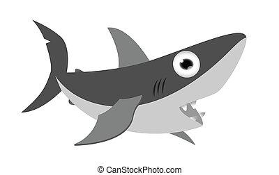 漫画, サメ, 微笑