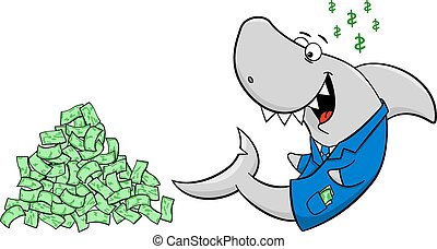 漫画, サメ, 微笑, 財政