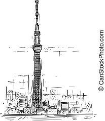漫画, スケッチ, の, 東京, skytree, タワー, 日本