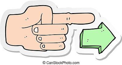 漫画, ステッカー, 矢, 指すこと, 手