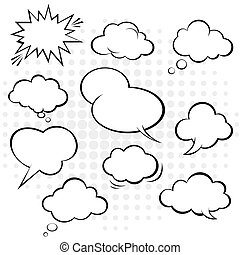 漫画, スピーチ, vector., bubble.