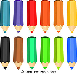漫画, セット, の, 有色人種, 木, 鉛筆