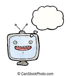 漫画, セット, テレビ, (raster, version)