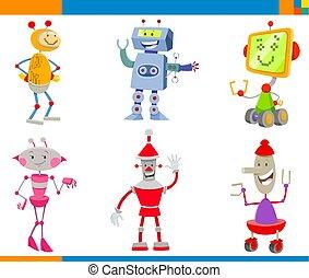 漫画, セット, ロボット, 特徴, droids