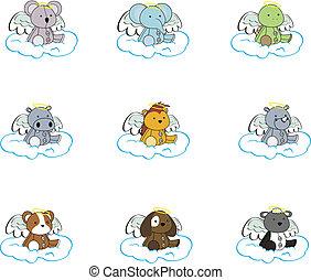 漫画, セット, 天使, pack2, 動物