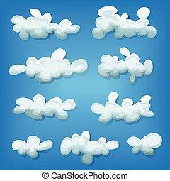 漫画, セット, 雲