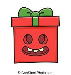 漫画, ゾンビ, 贈り物, プレゼント, 箱, クリスマス, 微笑