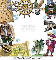 漫画, テンプレート, 海賊