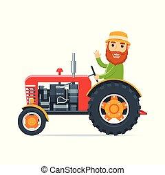 漫画, トラクター, 農夫