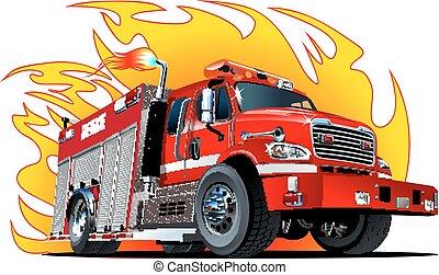 漫画, トラック, ベクトル, 火