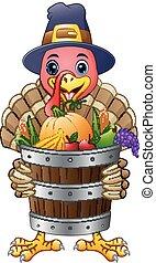 漫画, トルコ, ∥で∥, バスケット, フルである, の, 果物と野菜