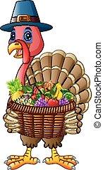 漫画, トルコ, 保有物, バスケット, フルである, の, 果物と野菜