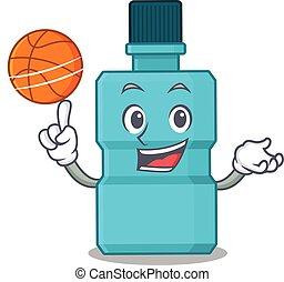 漫画, バスケットボール, マスコット, うがい薬, デザイン, 運動