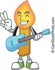 漫画, パフォーマンス, 涼しい, 金, ろうそく, 特徴, 極度, ギター