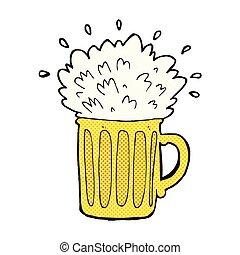 漫画, ビール, 泡だらけ, 漫画