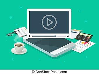 漫画, プレーヤー, モビール, 監視, 等大, 考え, 仕事, 呼出し, テーブル, 概念, smartphone, ベクトル, 携帯電話, イメージ, オンラインで, ∥あるいは∥, 会議, webinar, 電話, 平ら, 机, 勉強, ビデオ, 映画