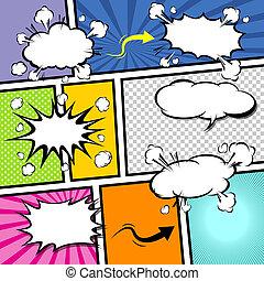 漫画, ベクトル, テンプレート, pop-art