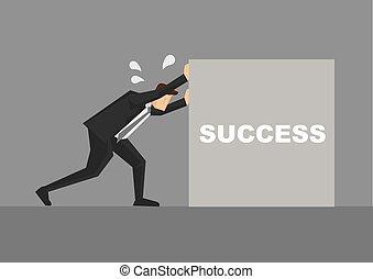 漫画, ベクトル, 押す, ビジネスマン, 成功, イラスト