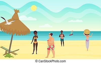 漫画, ベクトル, 浜, illustration., 人々