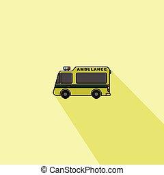 漫画, ベクトル, 緑, 救急車