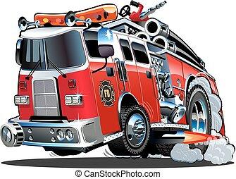 漫画, ベクトル, firetruck