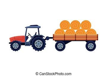 漫画, ベール, 背景, 白, トラクター, ベクトル, 干し草, カート, 機械類, イラスト, 農業